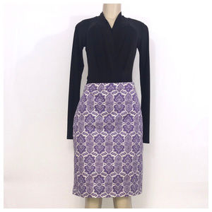 J. Crew Purple & Cream Pencil Skirt Sz 6